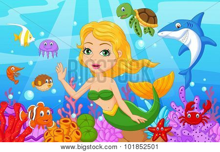 Cute mermaid cartoon with fish collection set