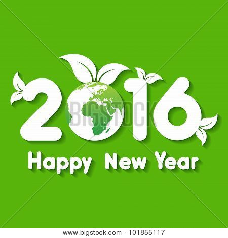 Happy New Year 2016 background with save the world concept stock vector