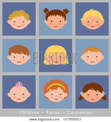 set of cute children's faces. Caucasian. flat style.
