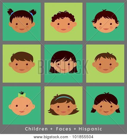 set of cute children's faces. Hispanic. flat style.