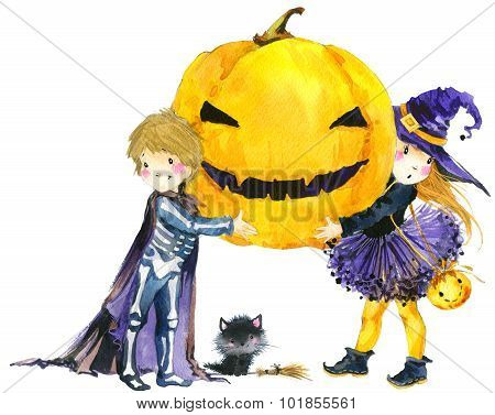 Halloween holiday little girl witch, skeleton boy, black cat,  and Halloween pumpkin. Watercolor ill