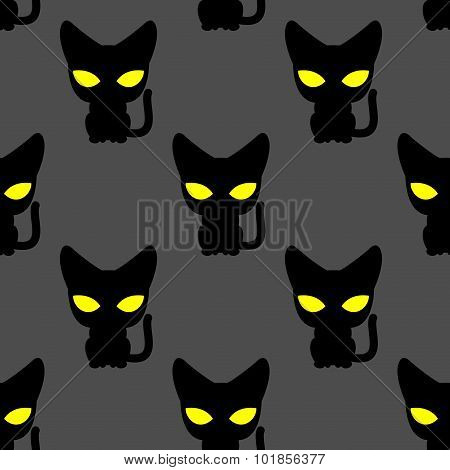 Black Cat With Yellow Eyes At Night Seamless Pattern. Vector Background Of Pets. Texture To Fabric.