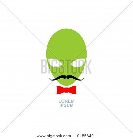 Green Alien With  Mustache And Bow-tie. Logo Template Ufo. Vector Icon