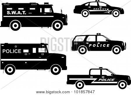 Set Of Different Silhouettes Police And Sheriff Cars. Vector Illustration.