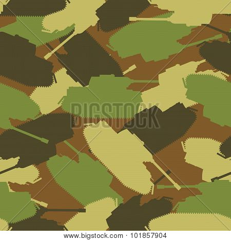 Army Tank Pattern. Protective Military Background Of Military Transport. Vector Camouflage Clothing