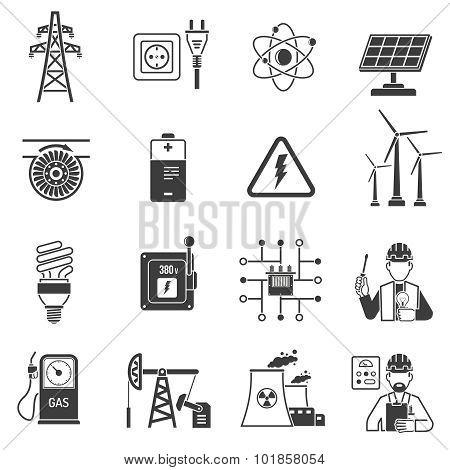 Energy power black icons set