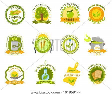Organic food brands labels templates set flat