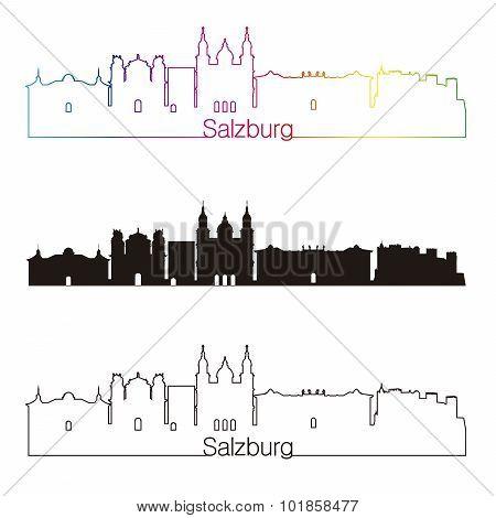 Salzburg Skyline Linear Style With Rainbow
