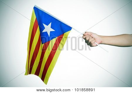 closeup of a young man with the Estelada, the Catalan pro-independence flag, in his hand, with a slight vignette added