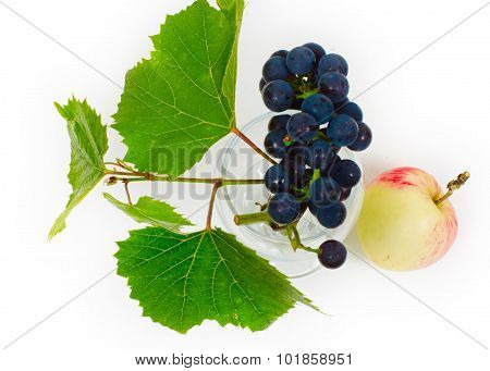 Grapes Cluster In A Wine Glass