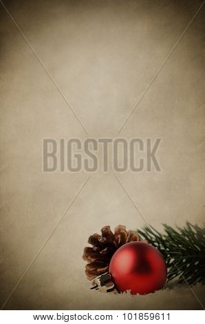 Christmas Background With Red Bauble And Foliage On Snow - Vintage Effect