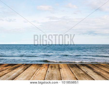 Landscape Ocean Sky Horizental Line And Wood Bridge In Front
