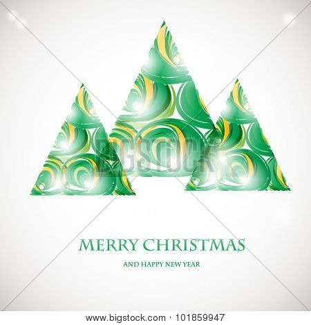 Abstract green christmas tree card. Christmas Tree from abstract transparent elements. Christmas card design. Christmas poster, t-shirt or web design with red fir tree