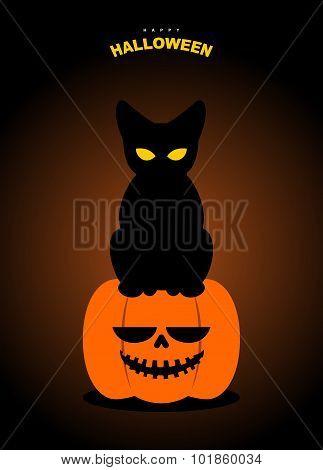 Happy Halloween. Black Cat Sits On Pumpkin At Night. Terrible Symbols Of Holiday.