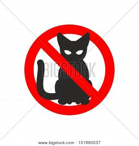 Stop Cat. Vector Sign No Cats. Ban Pet. Black Cat Silhouette. Sign Ban Slashed Red Circle
