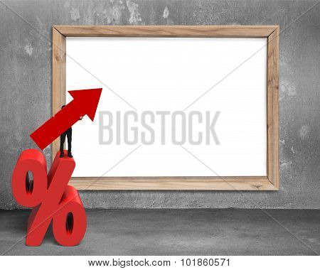 Businessman Holding Arrow Symbol On Percentage Sign With Whiteboard