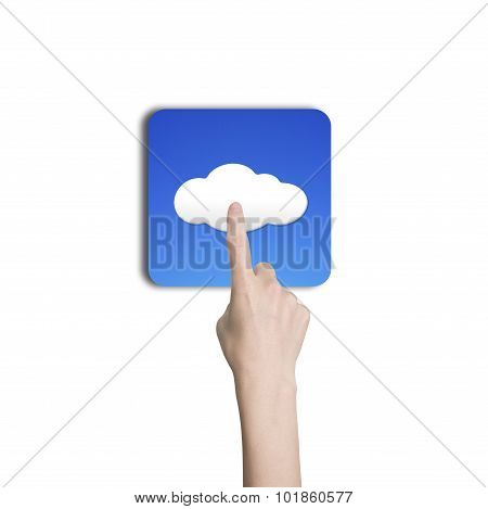 Woman Hand Index Finger Touching Cloud Icon Button