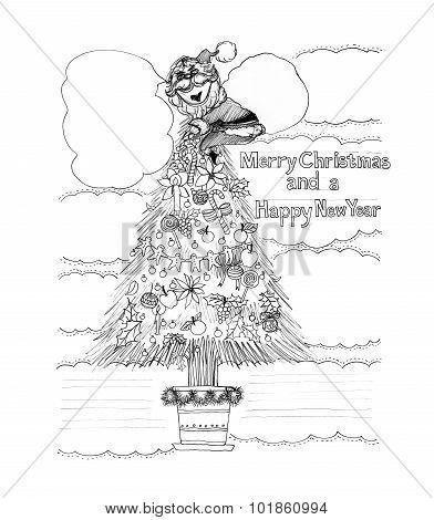 Santa Claus Climbing A Chistmas Tree