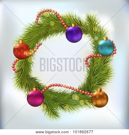 Christmas wreath decorated with balls and chaplet