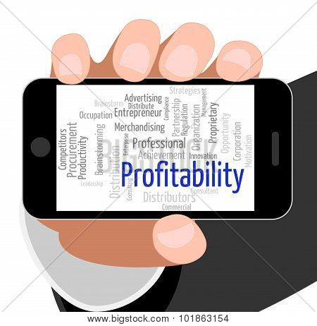 Profitability Word Shows Bottom Line And Financial