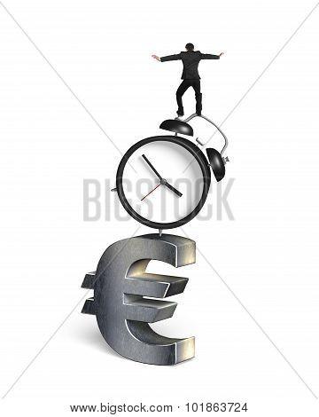 Businessman Balancing On Alarm Clock And Euro Sign
