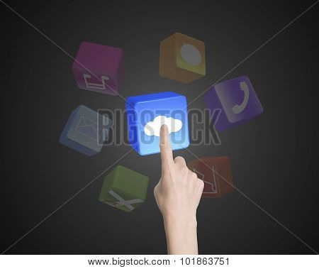 Woman Hand Index Finger Touching Cloud Icon Block