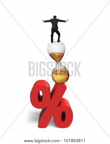 Businessman Balancing On Hourglass And Red Percentage Sign
