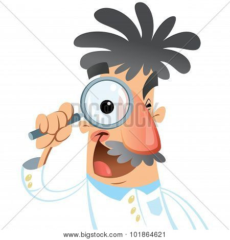 Cartoon Happy Smiling Medical Scientist Looking Through Magnifying Glass Researching