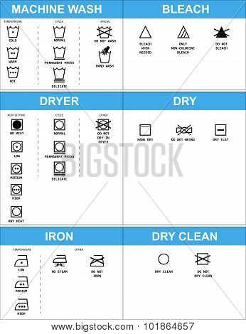 Set of clothing care symbols