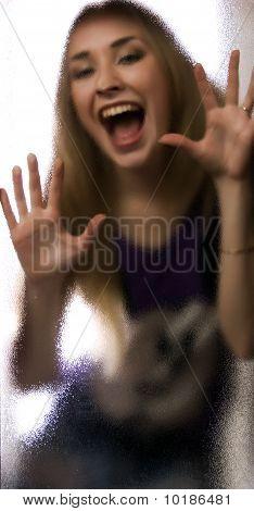 Girl Behind The Glass  Door
