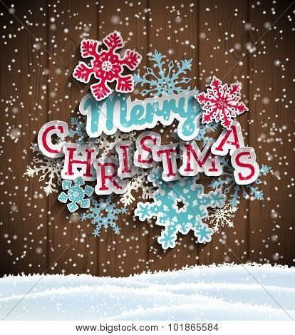 Colorful decorative text Merry Christmas on wooden background, illustration