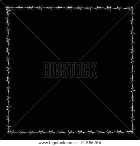 Barbwire Frame Square Border Black