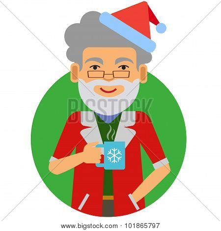 Man in Santa costume holding mug