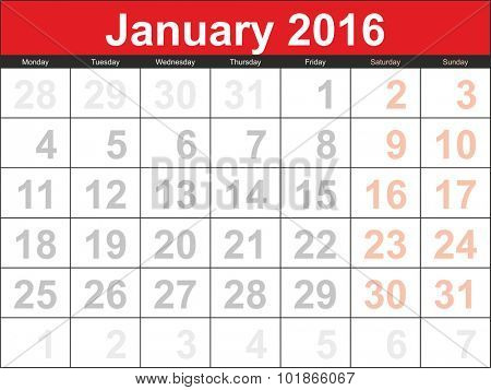 Vector planning calendar January 2016.