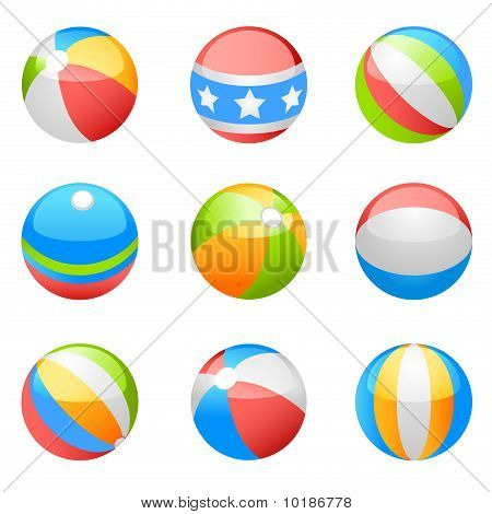 bola de praia vector set