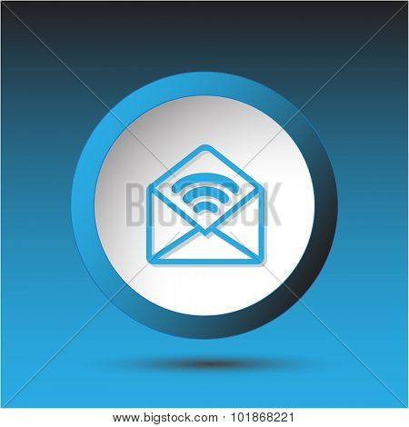 open mail with sound. Plastic button. Vector illustration.