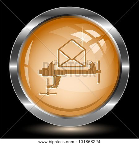 open mail with clamp. Internet button. Vector illustration.