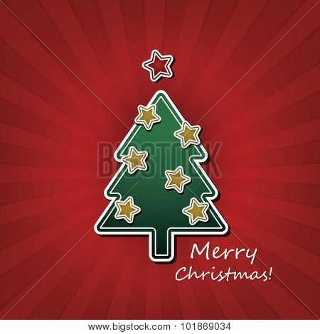 Christmas Card or Cover Template Design with Decorated Christmas Tree and Merry Christmas Text