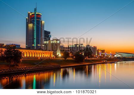 Sunset Night View Of Business Center Royal Plaza -Skyscraper on Pobediteley Avenue in district Nemig