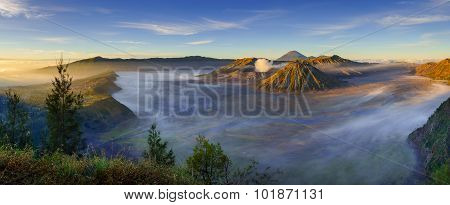 Bromo Volcano At Sunrise, East Java, Indonesia