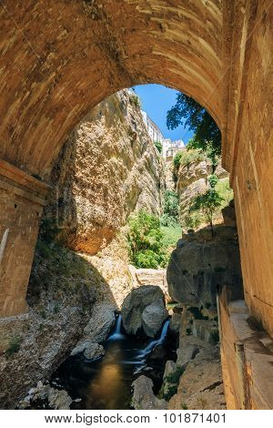 Wall of The New Bridge - Puente Nuevo in Ronda, Province Of Mala