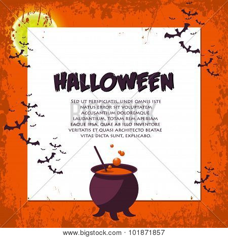Halloween Background. Vector Illustration. Flat Halloween Icons With Square Frame. Trick Or Treat Co