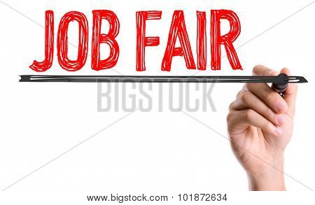 Hand with marker writing: Job Fair