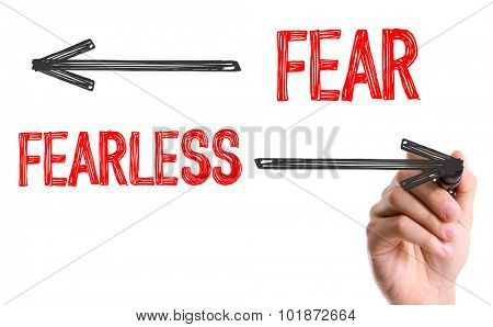 Hand with marker writing: Fair/Fearless