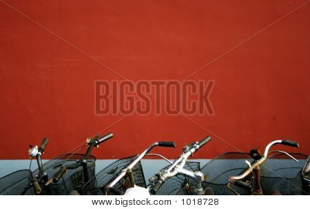 Red Wall And Bicycles(Beijing,China)