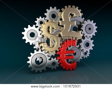 Cogwheel Currencies (clipping path included)
