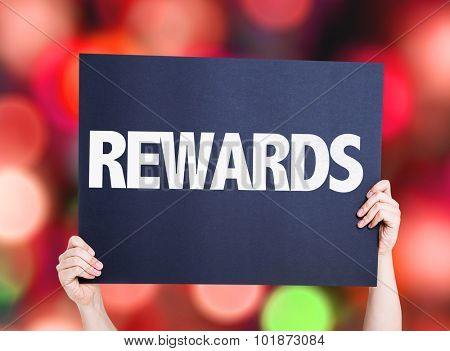 Rewards placard with bokeh background