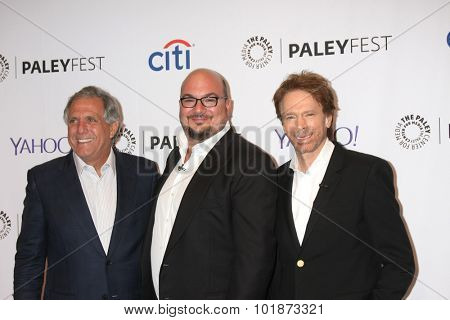 LOS ANGELES - SEP 16:  Les Moonves, Anthony E. Zuiker, Jerry Bruckheimer at the Fall TV Preview -