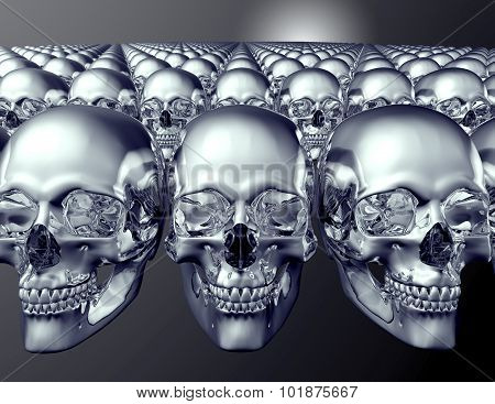 Metal Scull Isolated On Dark Background With Clipping Path