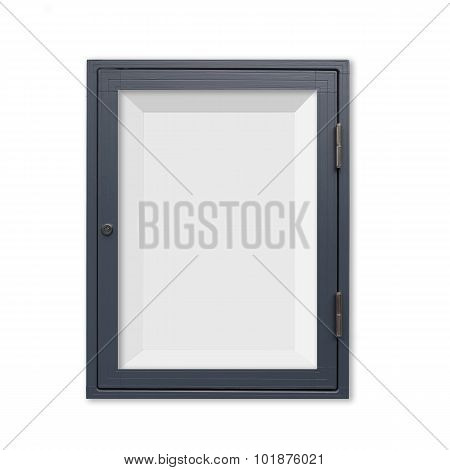 Wood window display frame isolated on white background